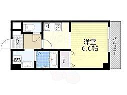 能勢電鉄妙見線 滝山駅 徒歩4分の賃貸マンション 1階1Kの間取り