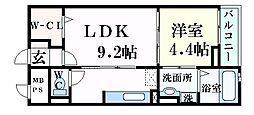 JR東海道・山陽本線 摂津本山駅 徒歩12分の賃貸マンション 2階1LDKの間取り