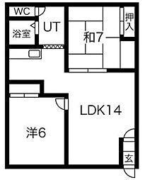 コーポ松島[2F号室]の間取り
