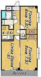 メイプルハイツ3[7階]の間取り