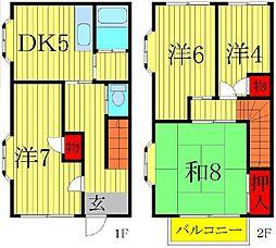 [テラスハウス] 千葉県柏市中新宿1丁目 の賃貸【/】の間取り