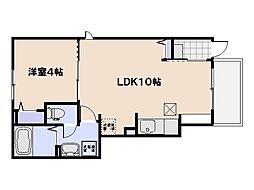 (仮)坪井2丁目アパート 1階1LDKの間取り