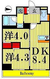 ティモーネグランデ錦糸町 2階2DKの間取り