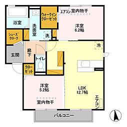 ロイヤルガーデン B[2階]の間取り