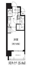 Osaka Metro谷町線 谷町六丁目駅 徒歩8分の賃貸マンション 3階1Kの間取り