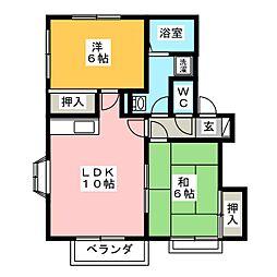 コーポリバーサイド[2階]の間取り