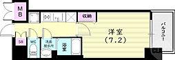 プレサンス兵庫ヴィアーレ 3階1Kの間取り