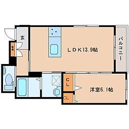 近鉄大阪線 五位堂駅 徒歩9分の賃貸マンション 3階1LDKの間取り