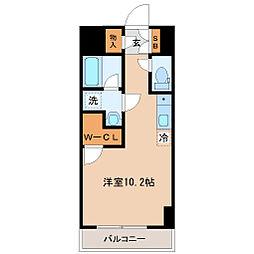 仙台市営南北線 勾当台公園駅 徒歩3分の賃貸マンション 2階ワンルームの間取り
