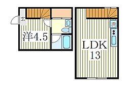 トヨシキ・ワールド・アパートメントC[1階]の間取り