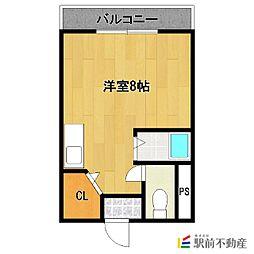 JR鹿児島本線 西牟田駅 徒歩12分の賃貸マンション 1階ワンルームの間取り