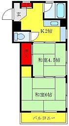 コーポナカムラ 3階2Kの間取り