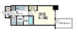 プレサンス心斎橋クオーレ 6階1Kの間取り