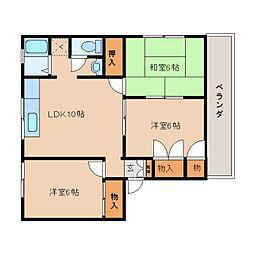 奈良県奈良市西大寺高塚町の賃貸アパートの間取り