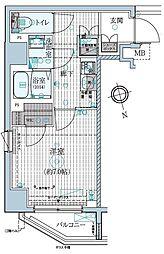東京メトロ東西線 早稲田駅 徒歩13分の賃貸マンション 2階1Kの間取り