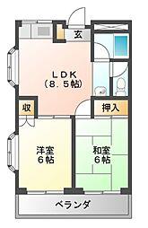 フリーダム道明寺[2階]の間取り