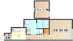 大阪府堺市堺区甲斐町西3丁の賃貸アパートの間取り