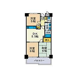 リゾンフルール[4階]の間取り