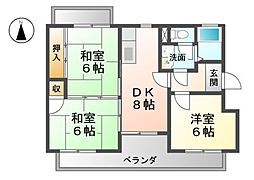 愛知県北名古屋市徳重与八杁の賃貸マンションの間取り