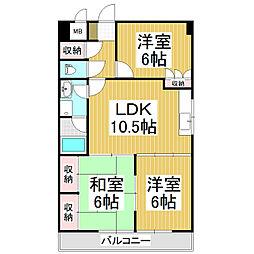ラルカ沢村[3階]の間取り