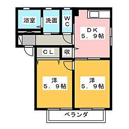 アーバンドエルA・B[2階]の間取り