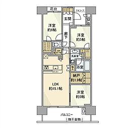 フォートンヒルズE棟307号室[3階]の間取り