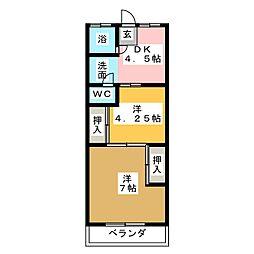 十六ハイツ[1階]の間取り