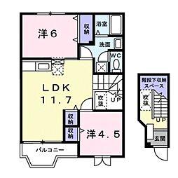 滋賀県大津市一里山5丁目の賃貸アパートの間取り