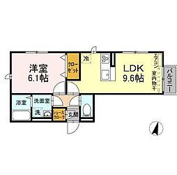 仮)D-roomよしわらA 2階1LDKの間取り