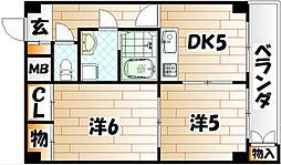 福岡県北九州市戸畑区東大谷1丁目の賃貸マンションの間取り