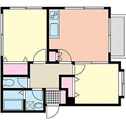 神奈川県横浜市中区本郷町3丁目の賃貸アパートの間取り