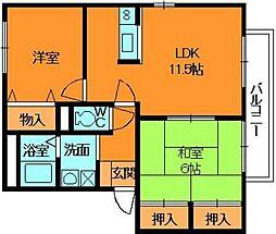 奈良県香芝市五位堂5丁目の賃貸アパートの間取り