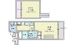 JR大阪環状線 福島駅 徒歩7分の賃貸マンション 5階1LDKの間取り