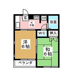 エクセレント南吉成 参番館[2階]の間取り