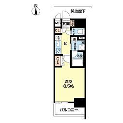 OKBアヴェニール菊井町 14階1Kの間取り