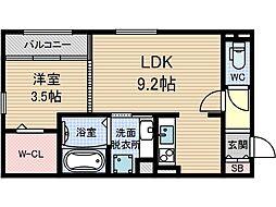 OKAZEN西駅前[1階]の間取り