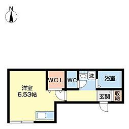 フルハウス 2階ワンルームの間取り