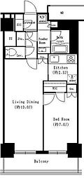 JR京葉線 越中島駅 徒歩10分の賃貸マンション 3階1SLDKの間取り