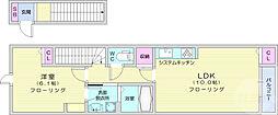 仙台市営南北線 富沢駅 3.6kmの賃貸アパート 2階1LDKの間取り