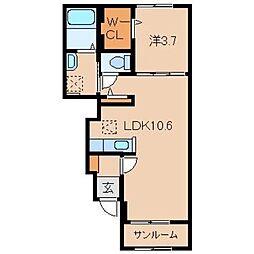 和歌山県和歌山市大谷の賃貸アパートの間取り