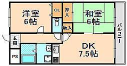 兵庫県伊丹市昆陽南3丁目の賃貸マンションの間取り