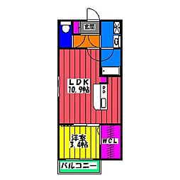 Lコスモ井尻[2階]の間取り