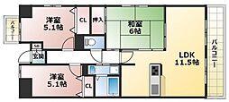 プランテーム吉田[2階]の間取り