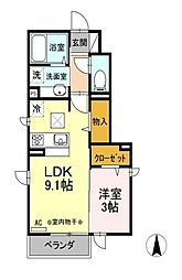 東京都国立市中2丁目の賃貸アパートの間取り