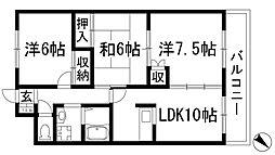 兵庫県伊丹市奥畑1丁目の賃貸マンションの間取り