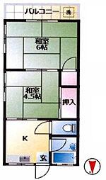 東京都三鷹市井口3丁目の賃貸アパートの間取り