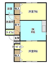 兵庫県赤穂市中広の賃貸アパートの間取り