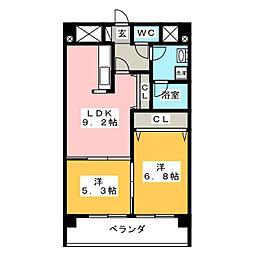 レジデンシャル・金剛[6階]の間取り
