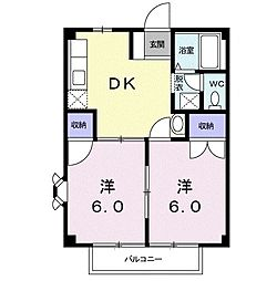 ドミール引野B[2階]の間取り