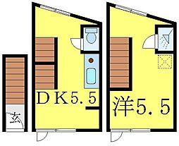 JR山手線 大塚駅 徒歩9分の賃貸マンション 2階1DKの間取り
